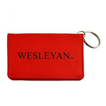 Velour ID Holder-Wesleyan University-Red