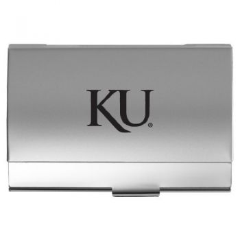 University of Kansas - Two-Tone Business Card Holder - Silver