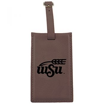 Wichita State University -Leatherette Luggage Tag-Brown