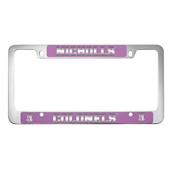 Nicholls State University -Metal License Plate Frame-Pink