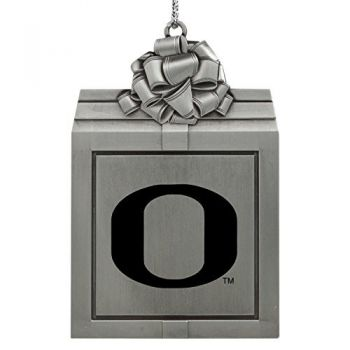 University of Oregon -Pewter Christmas Holiday Present Ornament-Silver