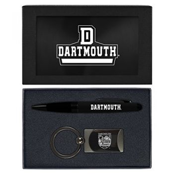 Dartmouth College-Executive Twist Action Ballpoint Pen Stylus and Gunmetal Key Tag Gift Set-Black