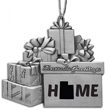 Utah-State Outline-Home-Pewter Gift Package Ornament-Silver