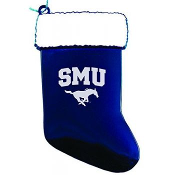 Southern Methodist University - Christmas Holiday Stocking Ornament - Blue