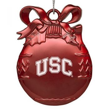 University of South California - Pewter Christmas Tree Ornament - Red