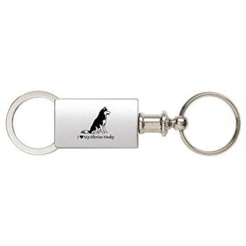 Detachable Valet Keychain Fob  - I Love My Siberian Huskie