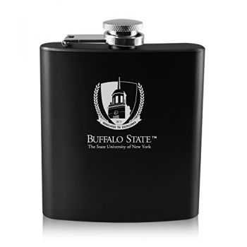 Buffalo State University - The State University of New York -6 oz. Color Stainless Steel Flask-Black
