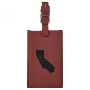California-State Outline-Heart-Leatherette Luggage Tag -Burgundy