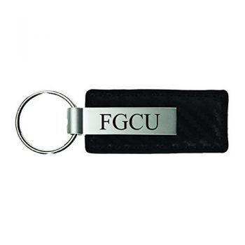 Florida Gulf Coast University-Carbon Fiber Leather and Metal Key Tag-Black