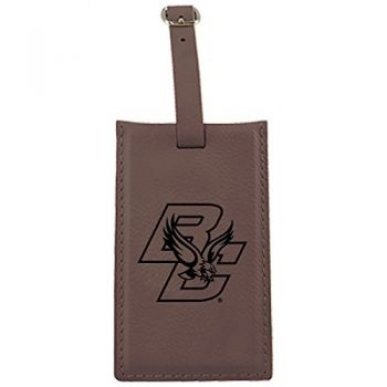 Boston College -Leatherette Luggage Tag-Brown