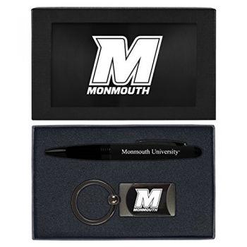 Monmouth University -Executive Twist Action Ballpoint Pen Stylus and Gunmetal Key Tag Gift Set-Black