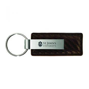 St. John's University-Carbon Fiber Leather and Metal Key Tag-Taupe