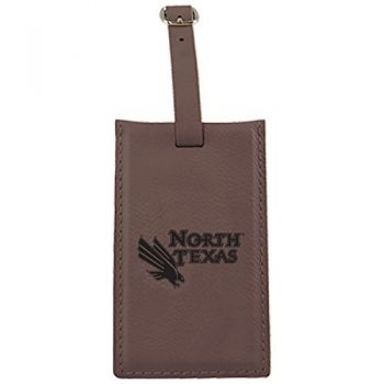 University of North Texas-Leatherette Luggage Tag-Brown