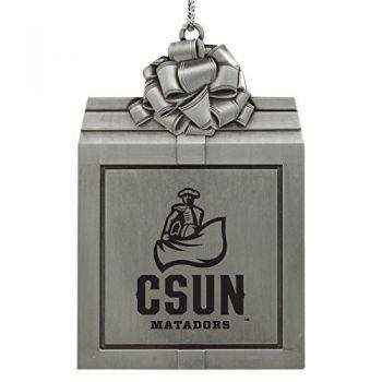 California State University, Northridge -Pewter Christmas Holiday Present Ornament-Silver