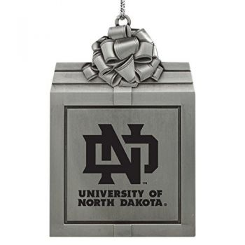 University of North Dakota-Pewter Christmas Holiday Present Ornament-Silver