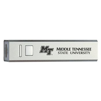 Middle Tennessee State University - Portable Cell Phone 2600 mAh Power Bank Charger - Silver