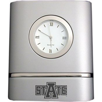 Arkansas State University- Two-Toned Desk Clock -Silver