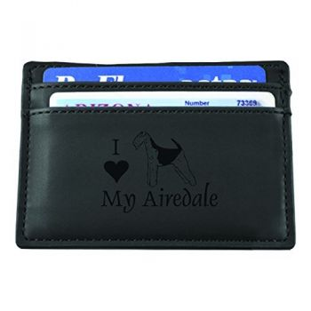 Slim Wallet with Money Clip  - I Love My Airedale