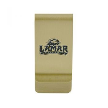University of Louisiana at Lafayette|Money Clip with Contemporary Metals Finish|Solid Brass|High Tension Clip to Securely Hold Cash, Cards and ID's|Silver