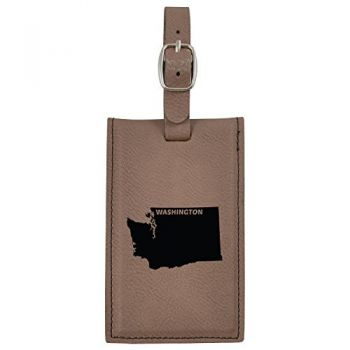 Washington-State Outline-Leatherette Luggage Tag -Brown