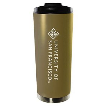 University of San Francisco-16oz. Stainless Steel Vacuum Insulated Travel Mug Tumbler-Gold
