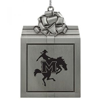 McNeese State University-Pewter Christmas Holiday Present Ornament-Silver
