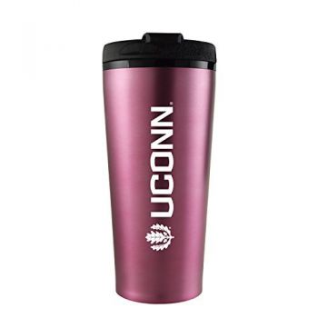 University of Connecticut-16 oz. Travel Mug Tumbler-Pink