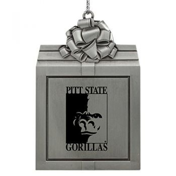Pittsburg State University -Pewter Christmas Holiday Present Ornament-Silver