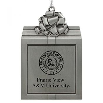Prairie View A&M University -Pewter Christmas Holiday Present Ornament-Silver