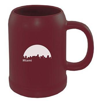 22 oz Ceramic Stein Coffee Mug - Miami City Skyline