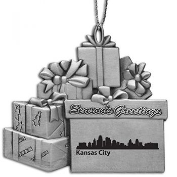 Pewter Gift Display Christmas Tree Ornament - Kansas City City Skyline