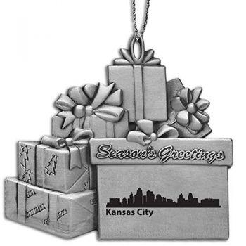 Kansas City, Kansas-Pewter Gift Package Ornament-Silver