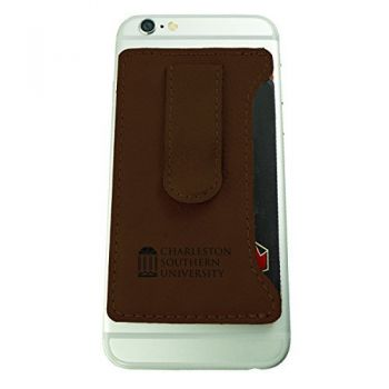 Charleston Southern University -Leatherette Cell Phone Card Holder-Brown
