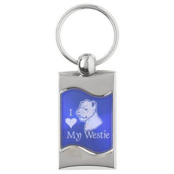 Keychain Fob with Wave Shaped Inlay  - I Love My Westie