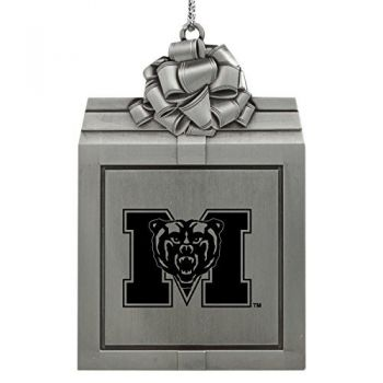 Mercer University -Pewter Christmas Holiday Present Ornament-Silver