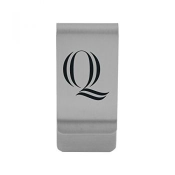 Quinnipiac University|Money Clip with Contemporary Metals Finish|Solid Brass|High Tension Clip to Securely Hold Cash, Cards and ID's|Gold