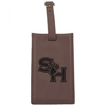 Sam Houston State University -Leatherette Luggage Tag-Brown