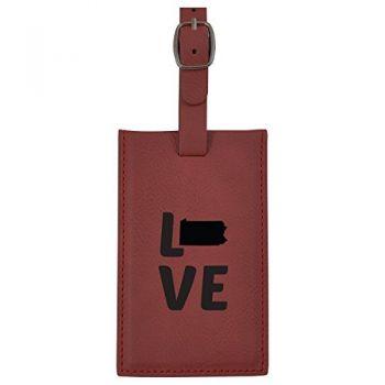 Pennsylvania-State Outline-Love-Leatherette Luggage Tag -Burgundy