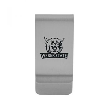 Weber State University|Money Clip with Contemporary Metals Finish|Solid Brass|High Tension Clip to Securely Hold Cash, Cards and ID's|Gold
