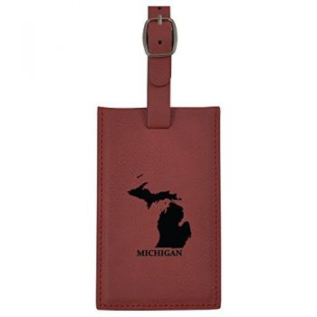 Michigan-State Outline-Leatherette Luggage Tag -Burgundy