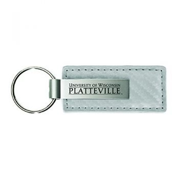 University of Wisconsin-Stout-Carbon Fiber Leather and Metal Key Tag-White