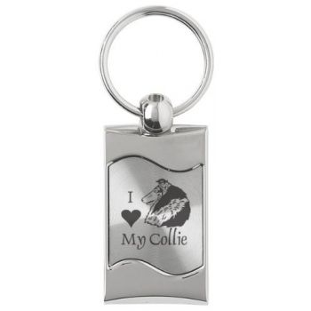 Keychain Fob with Wave Shaped Inlay  - I Love My Collie