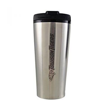 Towson University -16 oz. Travel Mug Tumbler-Silver
