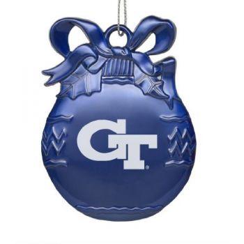 Georgia Tech - Pewter Christmas Tree Ornament - Blue