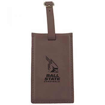 Ball State University -Leatherette Luggage Tag-Brown