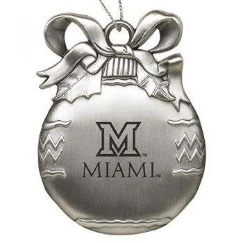 Miami University Ohio - Pewter Christmas Tree Ornament - Silver