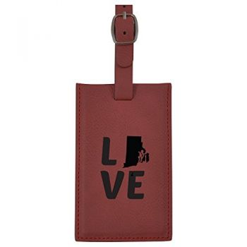 Rhode Island-State Outline-Love-Leatherette Luggage Tag -Burgundy