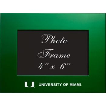 University of Miami - 4x6 Brushed Metal Picture Frame - Green