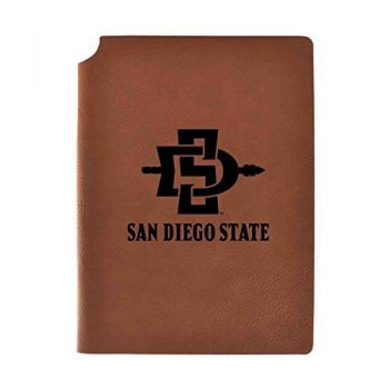 San Diego State University Velour Journal with Pen Holder|Carbon Etched|Officially Licensed Collegiate Journal|