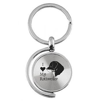 Spinner Round Keychain  - I Love My Rottweiler